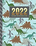 2022 Calendar and Notebook In One: Green Gray Dinosaur Pattern on Blue / 8.5x11 Monthly Planner with Note Paper Combo / Large Organizer With Whole ... Ruled Lined Sheets / Life Organizing Gift