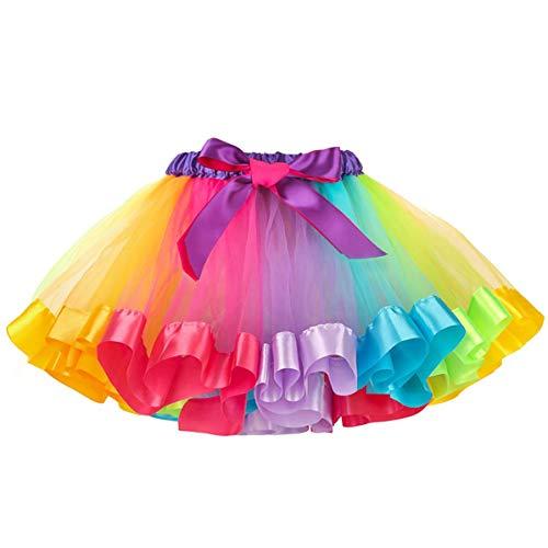 MMTX Tutu Skirt para niñas Arco Iris Falda de Tul Danza Falda Girls Rainbow Tutu Skirt Disfraces de Ballet para Niñas Pequeñas de 2 a 5 Años