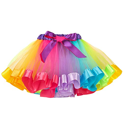 MMTX Mädchen Regenbogen Tüllrock Rock Tütü Bunte Lagen Regenbogen Tutu Rock Ballett Tanz Party Kleid 5-8 Jahre alt