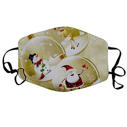 NN/A Weihnachten Mund und Nasenschutz mit Motiv Mundschutz Waschbar und Wiederverwendbar Erwachsene Weihnachts Multifunktionstuch Adult