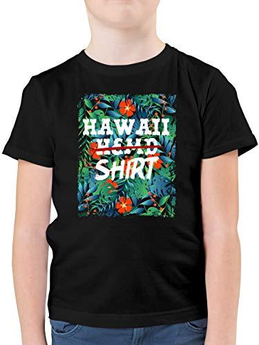 Karneval & Fasching Kinder - Hawaii Hemd Shirt - 140 (9/11 Jahre) - Schwarz - hawaiihemden Kinder - F130K - Kinder Tshirts und T-Shirt für Jungen
