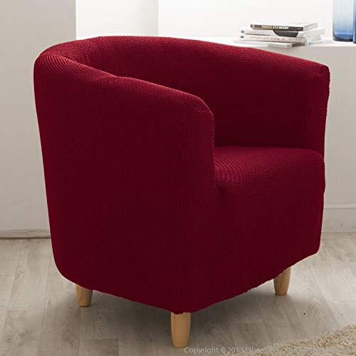 Delamaison Housse de Fauteuil Cabriolet/Club Extensible Coton/Polyester Rouge Lisa