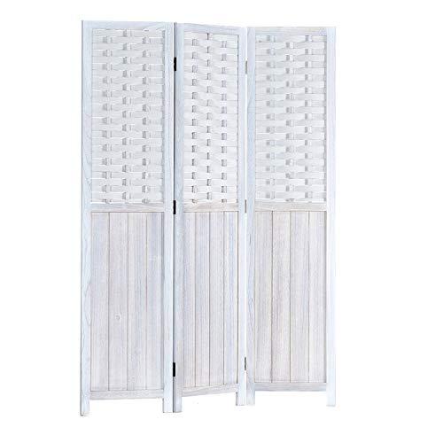 Homestyle4u 2001, Paravent Raumteiler Holz Weiß 3 teilig Rattan Trennwand Sichtschutz