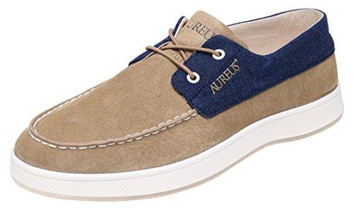 Aureus Men's Clasico Khaki/Navy Blue Nubuck Leather Low Top Boat Shoe Size 13 M US