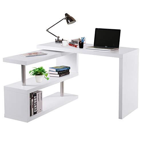 HOMCOM Mesa de Ordenador PC Escritorio de Esquina Giratorio 360 Grados en Forma de L con Estantes para Oficina en Casa 114x120x76,1 cm Blanco