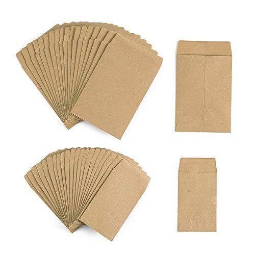 Mini Geschenktüten in Braun aus Papier Samenpakete 200 Stück/ 2 Größe für Kleine Adventskalender, Weihnachten, Freudentränen, Schmucktüten, Gastgeschenke, Münzumschläge