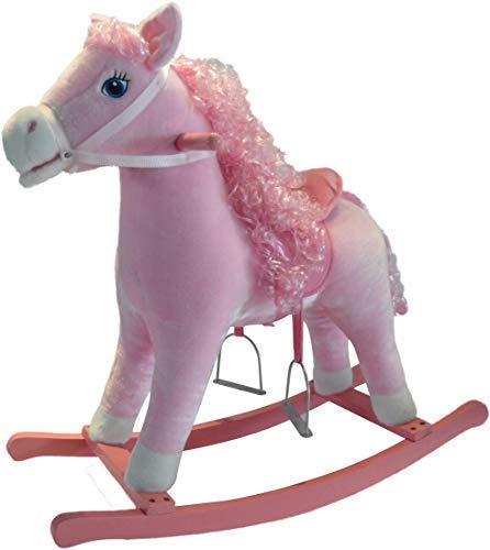 The Rocking Horse Co Rosa Cavallo a Dondolo - Peluche Finitura - Completo con Suoni - su Solido Legno Rockers