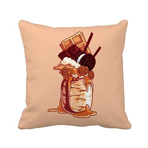 DIYthinker Biscuits au Chocolat crème glacée Bouteille carrée Coussin Oreiller de Insert Cover Accueil Canapé Décor Cadeau 40 X 40Cm Multicolore