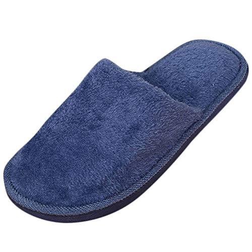 HIUGHJ Zapatillas de casa para Mujer, Piso Suave, Interior para Mujer, Suela Exterior, Zapatos Acolchados de algodón, Zapatillas de casa, Felpa Corta, algodón cálido y Suave, Azul Marino, 44