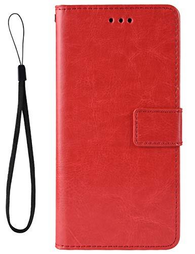 Croazhi Klapphülle Kompatibel mit LG V60 ThinQ 5G Hülle Leder Flip Hülle Handyhülle Schutzhülle Handytasche Magnetisch Kickstand Wallet Tasche Motiv Original für L G V60 ThinQ 5G Handy - Rot