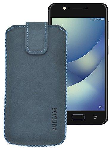 Suncase ECHT Ledertasche Leder Etui für ASUS ZenFone 4 Selfie Pro Tasche (mit Rückzugsfunktion) pebble-blue