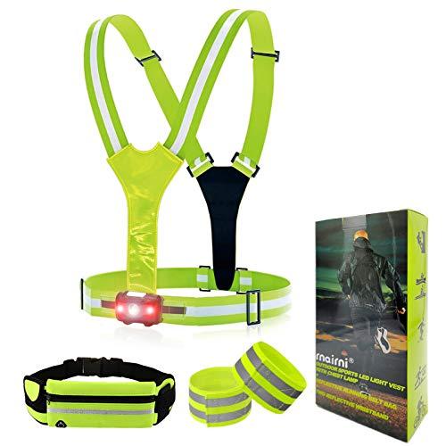 rnairni Lighting LED Reflective Vest Running Set of 3 - Adjustable Vest, Armbands, Belt Bag with Earphone Hole for Night Running, Motorcycle, Walking, Cycling and Dog Walking