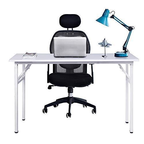 sogesfurniture Mesa Escritorio Plegable, 120x60 cm Mesa de Ordenador Escritorio de Oficina Mesa de Estudio Mesa de Comedor Plegable para Hogar Oficina, Picnic, Blanco AC5W-120-SF