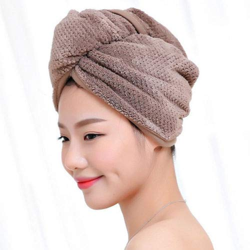 IAMZHL Twist Dry Shower Microfiber Hair Wrap Towel Drying Bath Spa Head Head Hat Hat Women -Brown