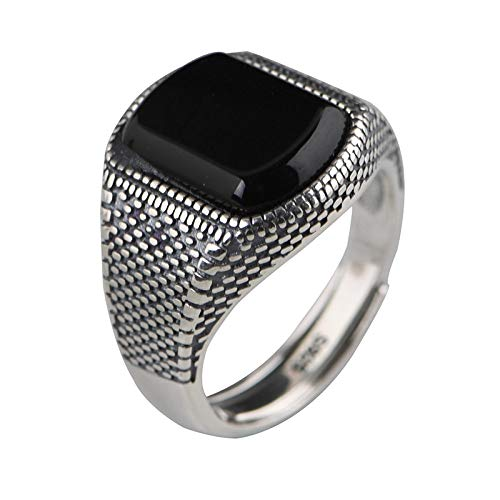 925 Sterling Silver Thumb Rings Women,Vintage Chunky Snake Skin Black Agate Stone Adjustable Open Finger Ring Thick Wide Birthday Wedding Band Charms Jewellery Gift