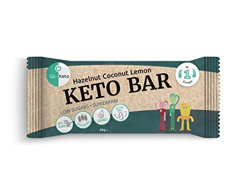 Go-Keto Barita - Avellana y coco (BIO)   12 x 40g   Con saludables avellanas, coco y linaza   Sin azúcar, perfecta para tu dieta Keto   Paleo, vegana, baja en carbohidratos