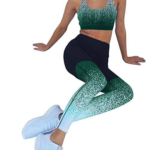 fyb Sexy Sports Suit Femmes Gradient Fitness Yoga Set Survêtement Gym Jogging Sportswear Running Top & Leggings Sport Fitness Suit Mujer, Green Set, L
