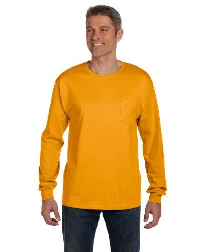 Hanes - T-Shirt à Manches Longues - Manches Longues - Homme Orange Orange - Safety Orange
