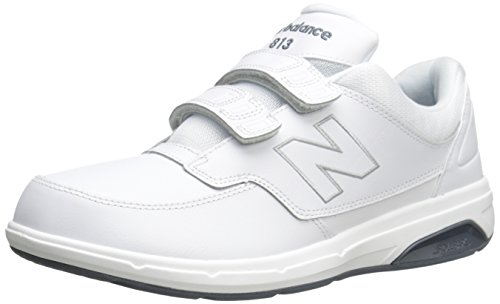 New Balance Men's 813 V1 Hook and Loop Walking Shoe, White, 12 XW US