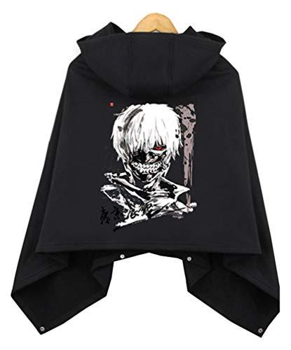 Cosstars Tokyo Ghoul Anime Cloak Kapuzenpullover Cosplay Kostüm Hoodie Cape Poncho Mantel Outwear Pulli Jacke Schwarz 5