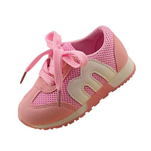 FNKDOR Kinderschuhe Outdoorschuhe Baby Kinder Sport Laufende Weiche Zufällige Flache Turnschuh Sneaker(EU29/CN30 Fußlänge:17.4CM,Rosa)
