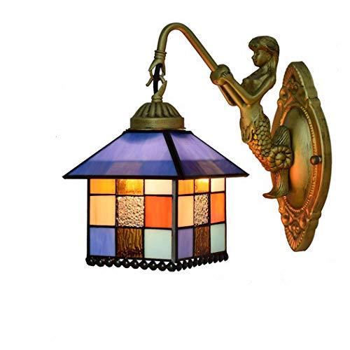 AWCVB Tiffany Art Lamp Lámpara De Pared Mediterránea Iluminación De Pared De Vidrio Creativo Lámpara De Noche De Hierro Forjado