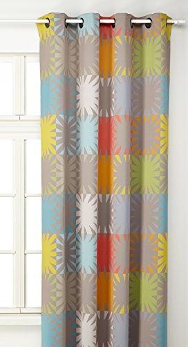 Linder 0551/28/49839/375FR gordijn, ondoorzichtig, bedrukt, kleur zalm/oranje/geel/blauw, met oogjes, 145 x 260 cm