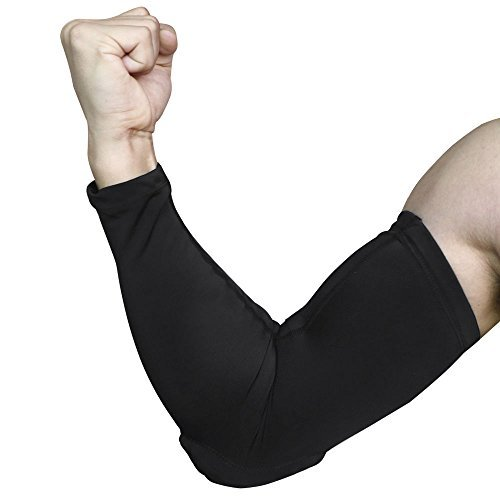 AceList 2 Packs (1 Pair) Protective Compression Shooter Sleeve Elbow Arm Pads Padding Layer Wicking, Non Slip Inner Bands for Basketball - Black - Large