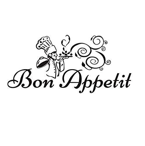 Pegatinas de pared de Chef divertido y comida deliciosa, vinilo gourmet, azulejo de cocina, mural, artista, decoración residencial, 59x28 cm