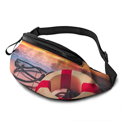 JOCHUAN Fitness Waist Bag Life Saver on A Dock at The Beach on A Sunny Day Travel Fanny Pack for Men with Headphone Jack and Adjustable Straps A Fanny Pack for Women for Travel Sports Randonnée