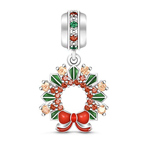 GNOCE Multicolor Delicate Christmas Wreath Pendant Locket'My Sunshine' 925 Sterling Silver Dangle Charm for Bracelet/Necklace