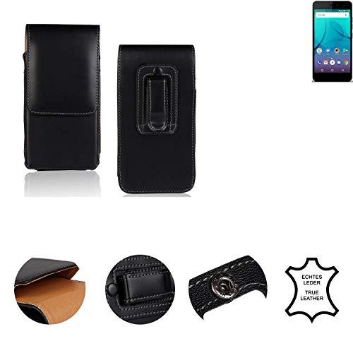 K-S-Trade® Holster Gürtel Tasche Für Allview P7 Lite Handy Hülle Leder Schwarz, 1x