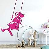 Adhesivo De Pared Calcomanías Swing Girl Kindergarten Habitación Para Niños Graffiti Street Culture Banksy Dormitorio Decoración De Vinilo 56X85 Cm Decoración De Pared Para El Hogar Mural