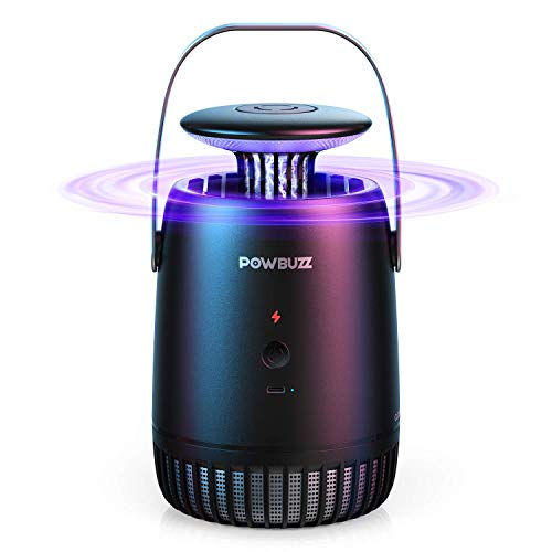 POWBUZZ Elektrischer Insektenvernichter, Tragbare UV Licht Mückenfalle mit USB Kable für Innen Schlafzimmer und Garten, Mückenlampe mit Klebeplatte gegen Fruchtfliege, Motten, Insekten