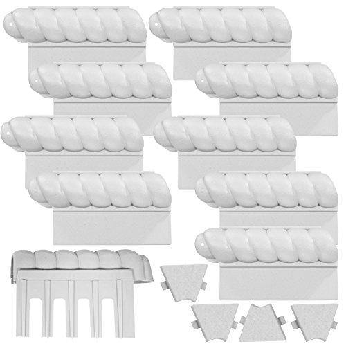 14-teiliges Set befahrbare Rasenkanten 2,2m Beeteinfassungen - grau - witterungsbeständig - mit senkrechten Einsteckkanten
