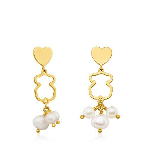 TOUS Pendientes mujer, corazones y silueta osos de plata Vermeil bañado en oro 18kt, perlas de 4,5-6,5 cm