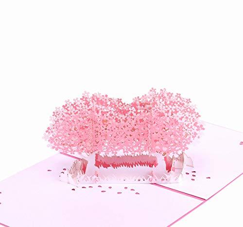 Paper Spiritz 「桜木」グリーティングカード、メッセージカード 立体 和風、祝賀カード、クリスマスカード