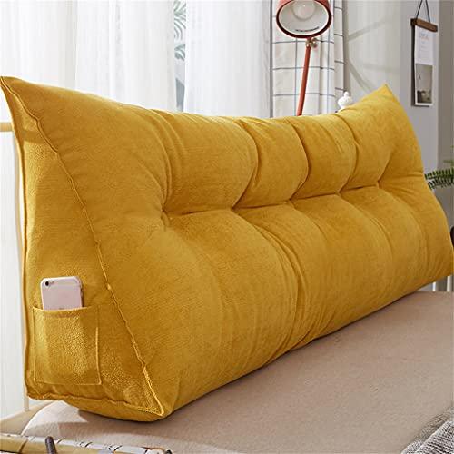 Almohada triangular para cabecero, de color sólido, cojín de lectura, nunca colapsar, cojines de apoyo, paquete suave Tatami con funda extraíble y lavable, amarillo, 150 cm