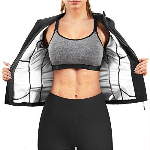 URSEXYLY Women Hot Sweat Sauna Suit Waist Trainer Jacket Slimming Weight Loss Body Shaper Zipper Shirt Workout Long Sleeve Tops (Black, XX-Large)