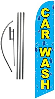 Car Wash Feather Flag Banner Swooper Flag Kit   Top Selling Car Wash Signs   Pole Kit and Ground Spike Included (Bubbles)