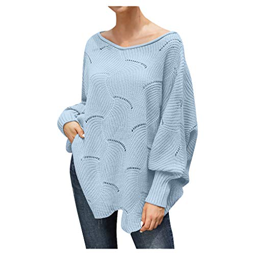 general3 Women Pullover Sweaters Off Shoulder Lantern Sleeve Hollow Irregular Hem Oversized Loose Knitted Jumper Tops (Red, X-Large) from general3
