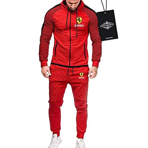 CONVERMPU de Los Hombres Chandal Conjunto Trotar Traje Fer.r-ari Hooded Zipper Chaqueta + Pantalones Deporte Sudadera Suéter Capacitación Traje Chandal/Rojo/XL