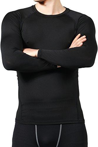 LUDUS スポーツインナー トップス 長袖 メンズ (L, ブラック×ブラック)