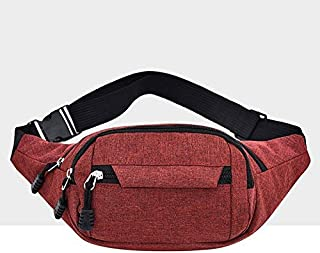 YKDY Shoulder Bag Pure Color Multi-Function Pockets Waterproof Chest Bag Waist Crossbody Sports Bag (Black) (Color : Red)