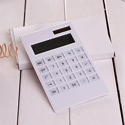 calcolatrice Calcolatrice da tavolo, calcolatrice da 12 cifre con grande LCD. Display Big Pulsante sensibile, Solar e Battery Dual Power Calquator calcolatore elettronico (Color : White)