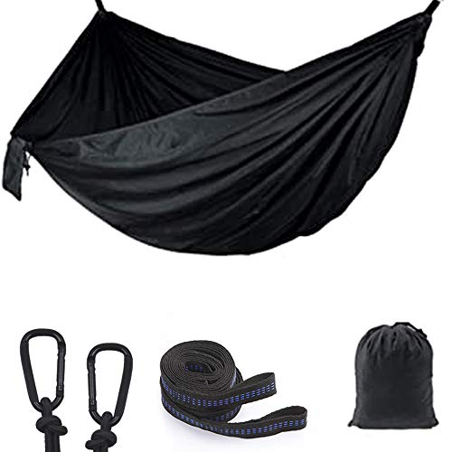Hammock Camping, Lightweight Portable Hammocks for Outdoor Hiking Travel Backpacking Beach Yard- Strongest Parachute Nylon Hammock Swing - Support 300kg Ropes Carabineers,260 * 140cm,Black