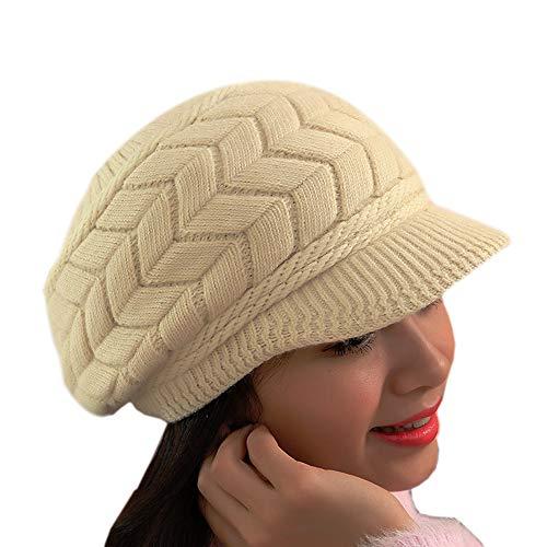Sombrero Invierno Gorros de Punto Gorras para Mujeres Crochet Cálido Suave Sombreros de Esqui (Beige)