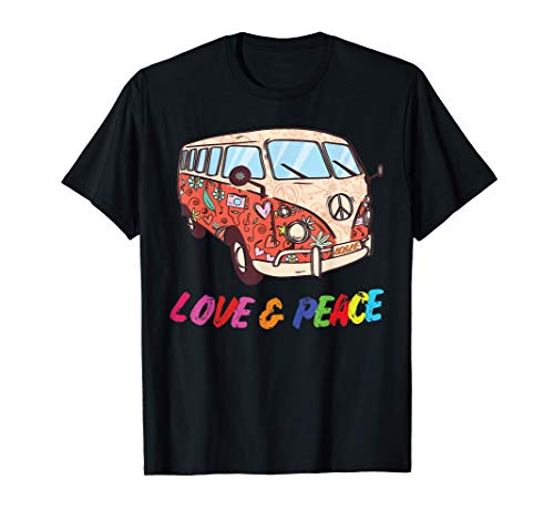 Flower Power Van, Retro 60er Jahre Hippie Bus Kostüm Outfit T-Shirt