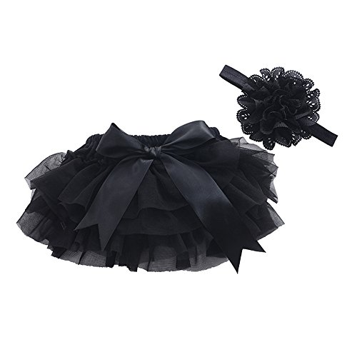 muyan Girls Cotton Tulle Ruffle with Bow Baby Bloomer Diaper Cover and Headband Set (Black, L(12Month-24Month))