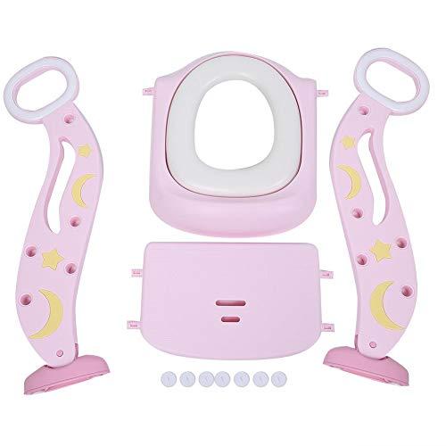 Sedile WC per bambini con scaletta per scaletta, sedile per vasino con scaletta, sedile vasino regolabile per toilette per bambini con sgabello per bambini, ragazzo, sedile per vasino, robusto (Rosa)